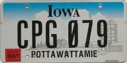 2015 Iowa (Natural Single) license plate for sale