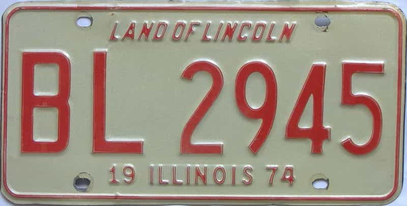 1974 Illinois  (Single) license plate for sale
