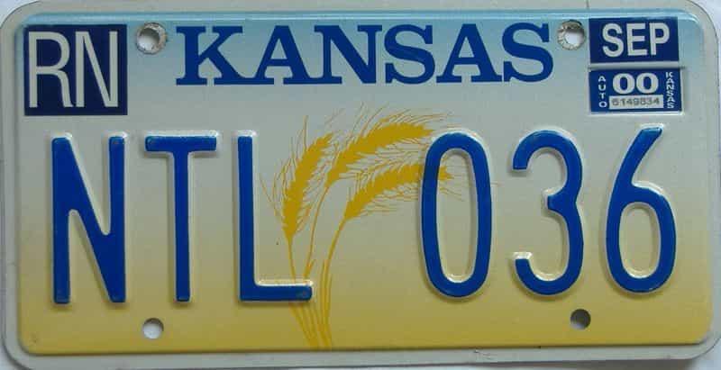 2000 Kansas (Natural) license plate for sale