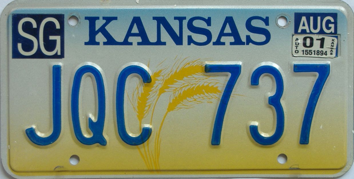 2001 Kansas license plate for sale