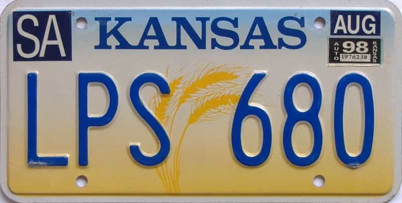 1998 KS license plate for sale