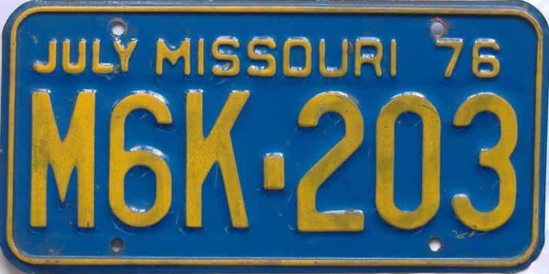 1976 MO (Single) license plate for sale