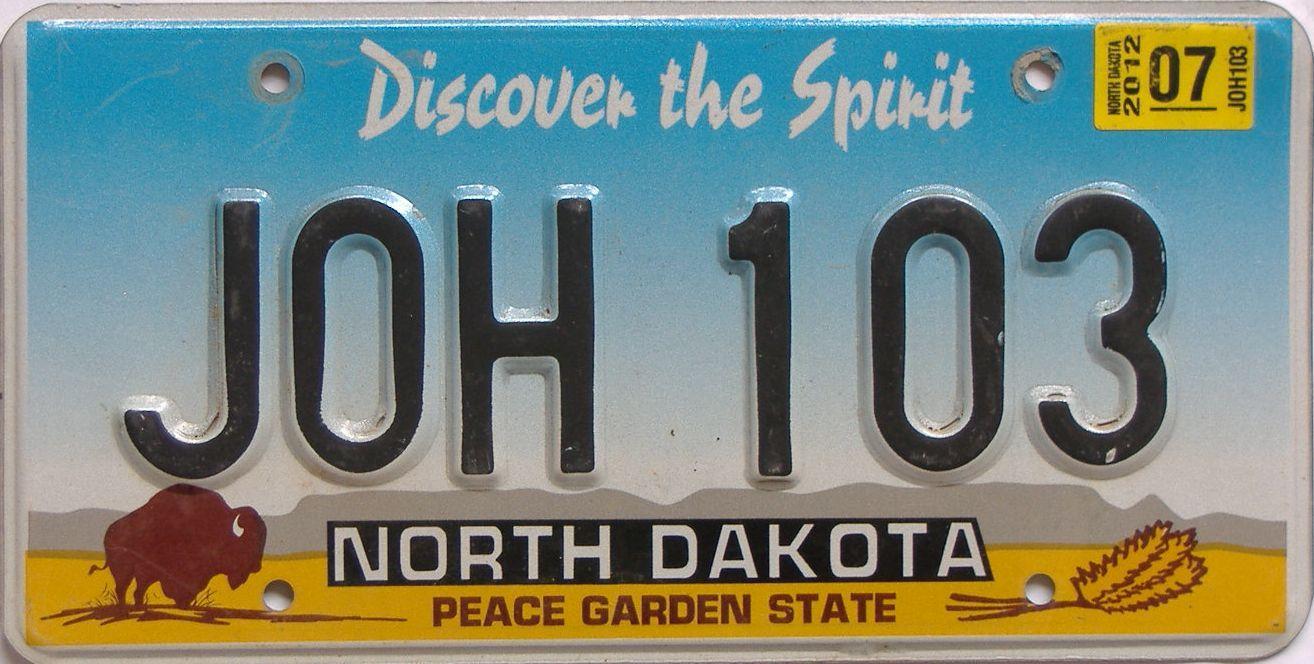 2012 North Dakota (Natural Single) license plate for sale