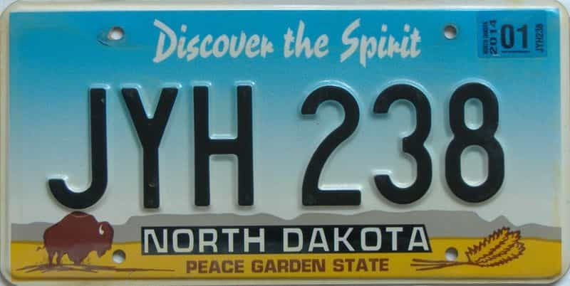 2014 ND (Natural Single) license plate for sale