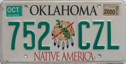 2000 Oklahoma license plate for sale