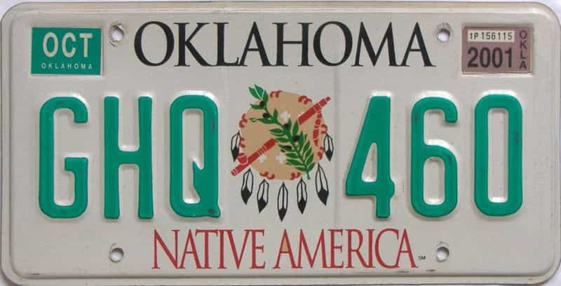2001 OK (Natural) license plate for sale
