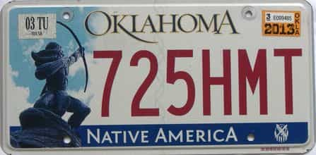 2013 Oklahoma (Natural) license plate for sale