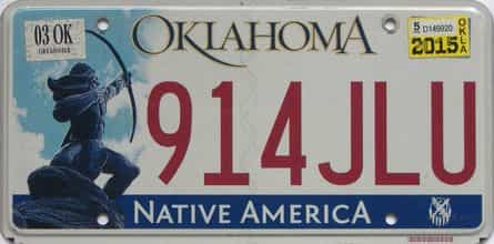 2015 Oklahoma license plate for sale