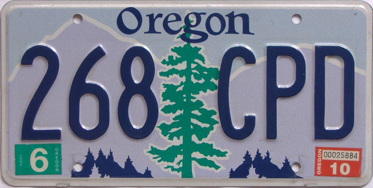 2010 Oregon (Natural Single) license plate for sale