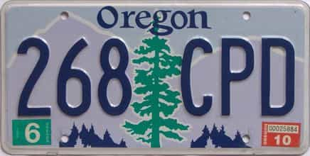 2010 Oregon (Natural Single) license plate for sale