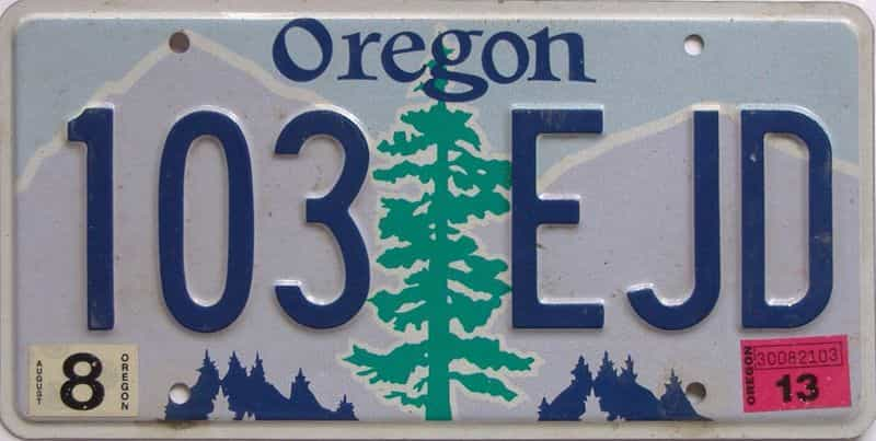 2013 Oregon  (Natural Single) license plate for sale