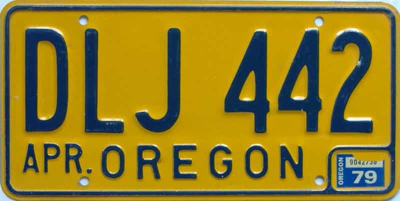 1979 OR (Natural Single) license plate for sale
