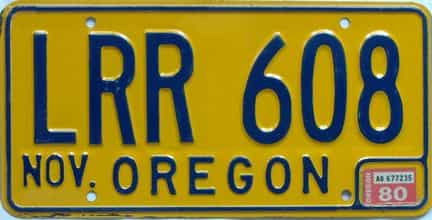 1980 Oregon  (Natural Single) license plate for sale