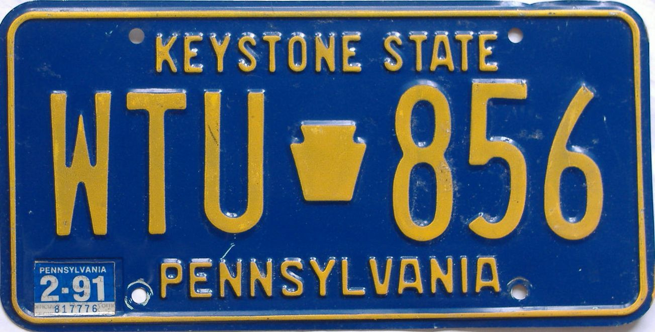 1991 Pennsylvania (Natural) license plate for sale