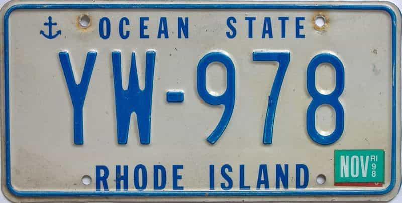 1998 RI (Single) license plate for sale