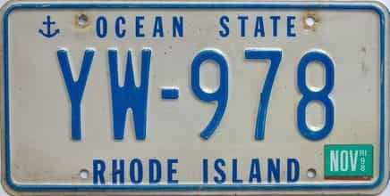 1998 Rhode Island (Single) license plate for sale