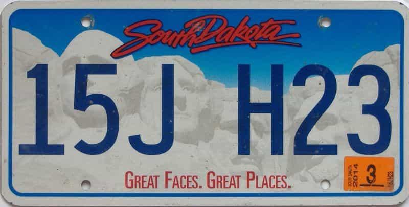 2014 South Dakota (Natural Single) license plate for sale