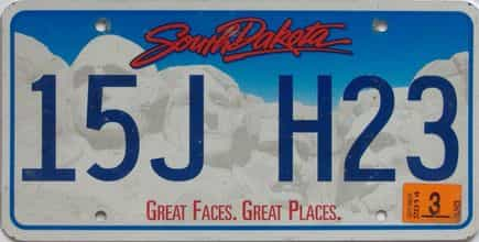 2014 South Dakota (Natural Single) license plate for sale