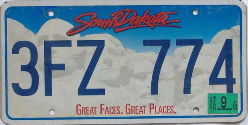 2015 South Dakota (Natural Single) license plate for sale