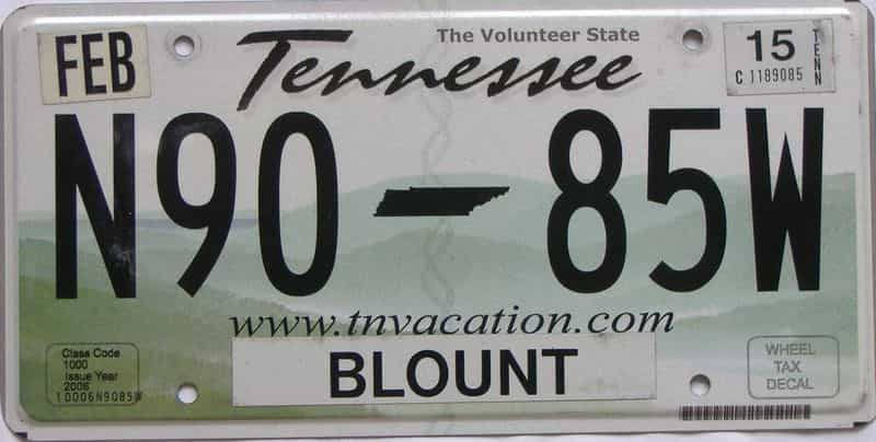 2015 Tennessee (Natural) license plate for sale