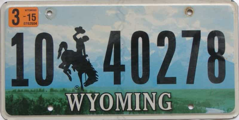 2015 Wyoming  (Natural Single) license plate for sale