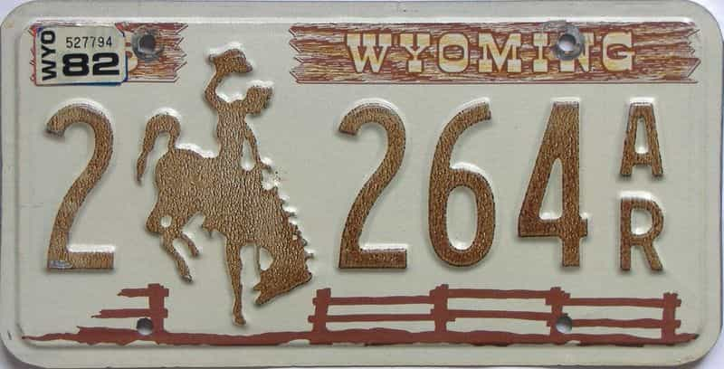 1982 WY (Single) license plate for sale