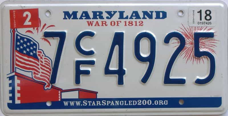 2018 Maryland (Natural Single) license plate for sale