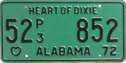 1972 Alabama (Truck) license plate for sale