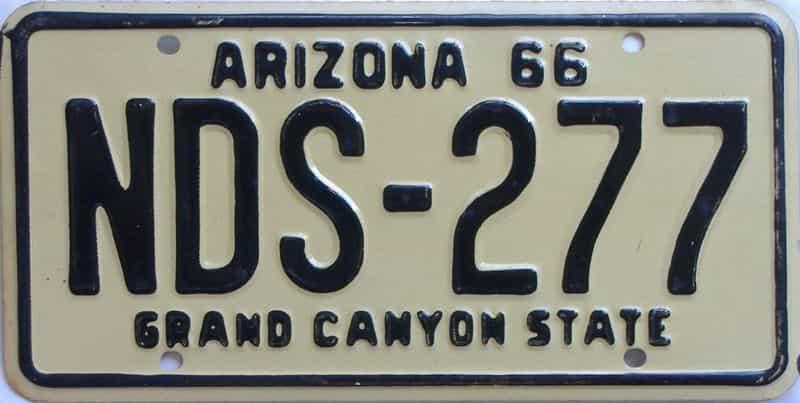 1966 Arizona (Single) license plate for sale