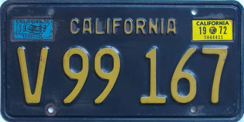 1972 California  (Truck) license plate for sale