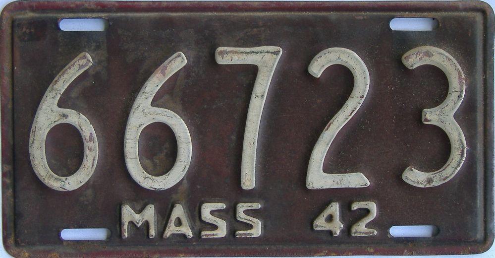 1942 Massachusetts (Single) license plate for sale