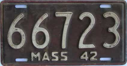 1942 Massachusetts (Single) license plate for sale