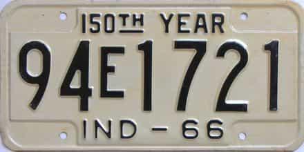 1966 Indiana license plate for sale