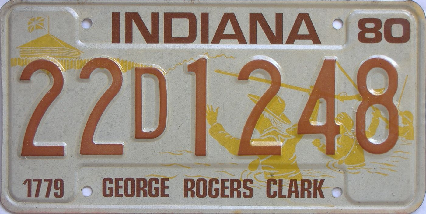 1980 IN license plate for sale