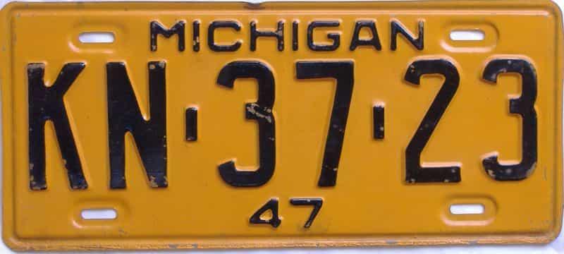 1947 MI license plate for sale