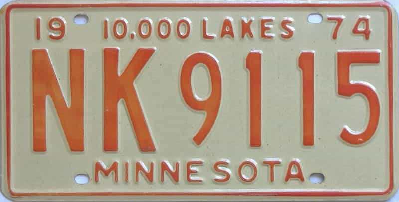 1974 MN (Single) license plate for sale