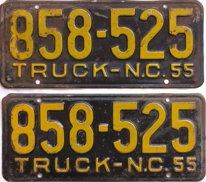 1955 North Carolina  (Pair) license plate for sale