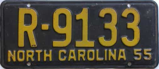 1955 North Carolina (Single) license plate for sale