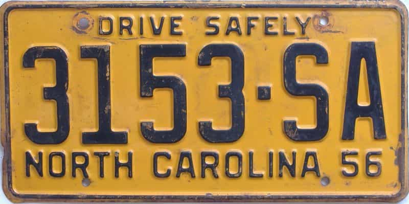1956 North Carolina (Truck) license plate for sale