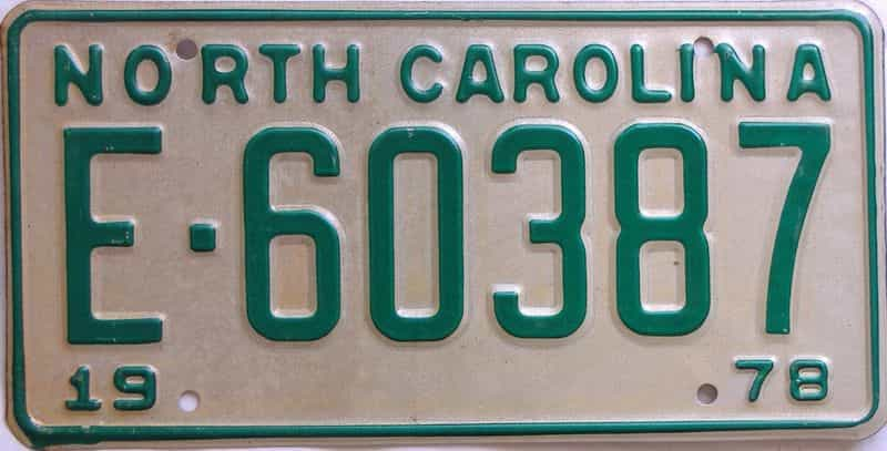 1978 NC license plate for sale