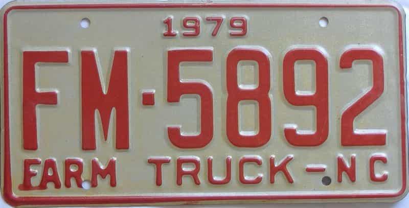 1979 North Carolina (Farm) license plate for sale