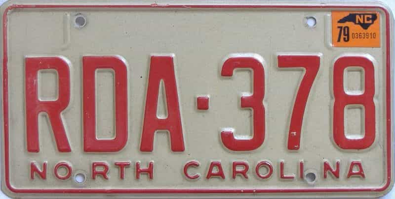 1979 North Carolina license plate for sale