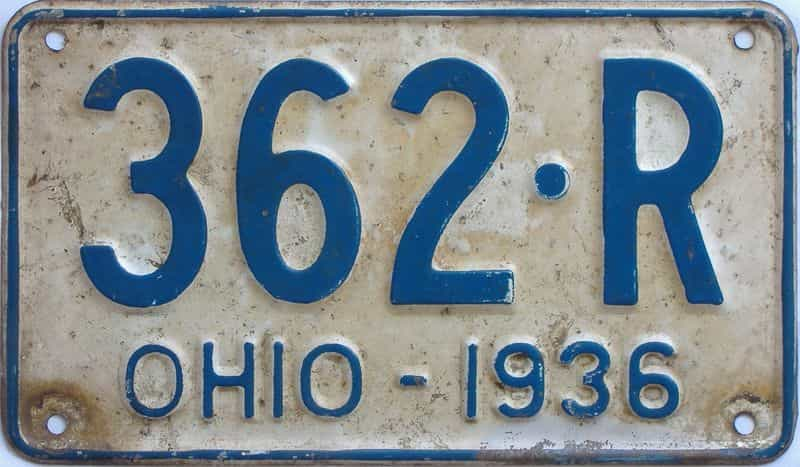 1936 Ohio (Single) license plate for sale