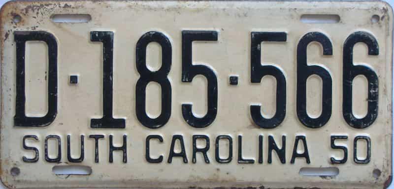 1950 SC (Single) license plate for sale