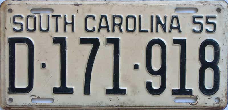 1955 SC (Single) license plate for sale