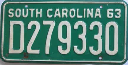 1963 South Carolina (Single) license plate for sale
