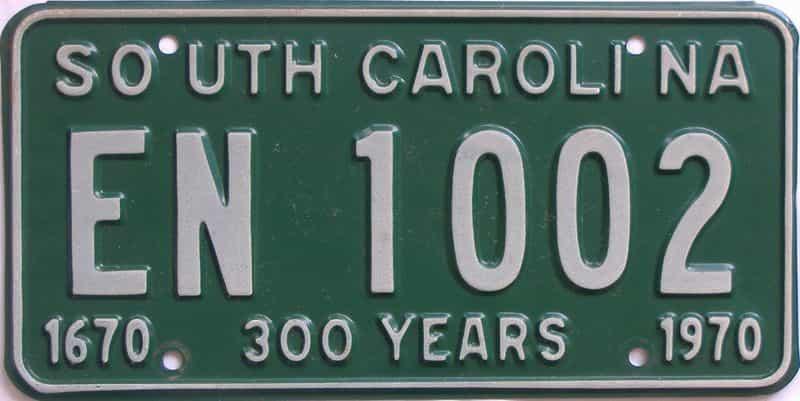 1970 South Carolina  (Single) license plate for sale