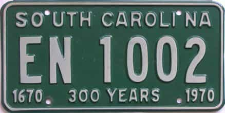 1970 South Carolina (Single) license plate for sale