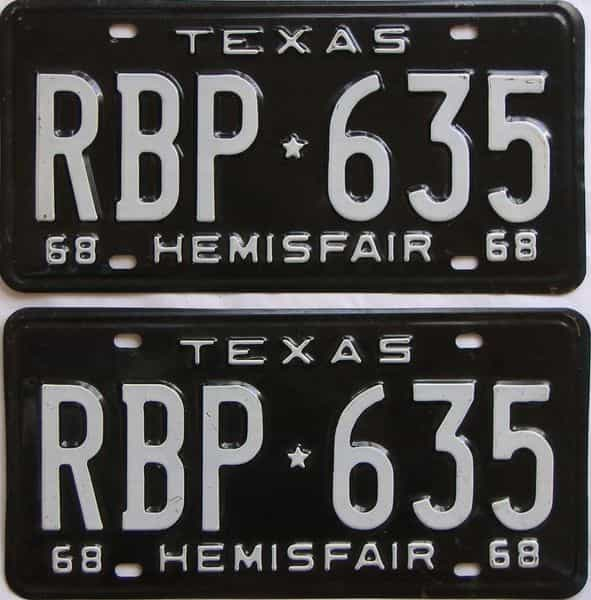 1968 TX (Pair) license plate for sale