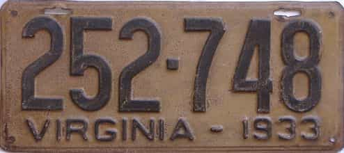 1933 Virginia (Single) license plate for sale
